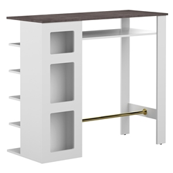 Tournette Modern White + Concrete-Look Bar Table by TemaHome