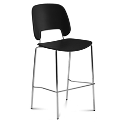 Trajan Chrome + Black Modern Bar Stool