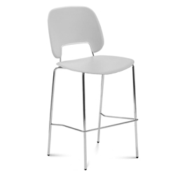 Trajan Chrome + Gray Modern Bar Stool