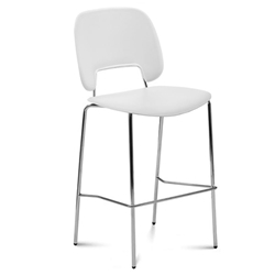 Trajan Chrome + White Modern Bar Stool