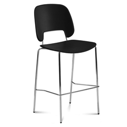 Trajan Chrome + Black Counter Stool