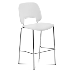 Trajan Chrome + White Modern Counter Stool