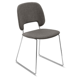 Trajan Chrome  + Brown Modern Sled Dining Chair