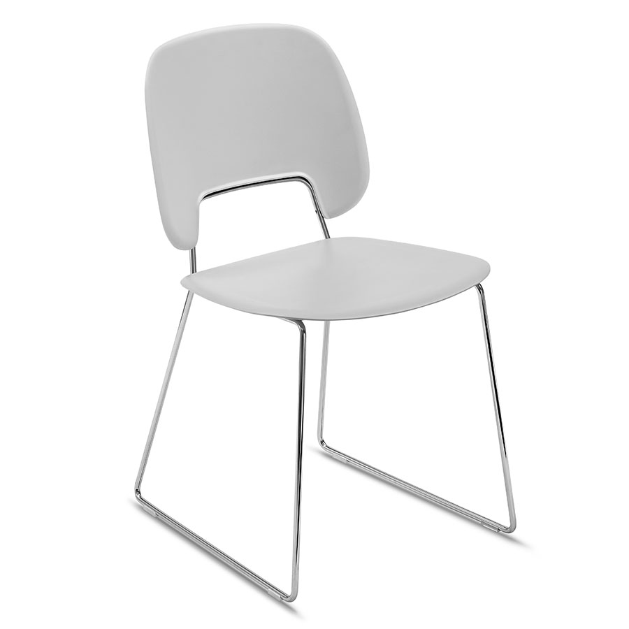 Trajan Chrome + Gray Modern Sled Dining Chair