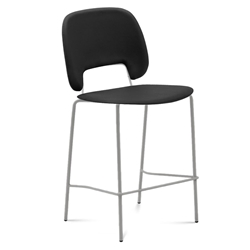 Trajan Tan + Black Leatherette Modern Bar Stool