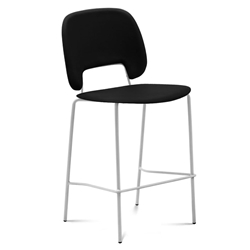 Trajan White + Black Leatherette Modern Counter Stool