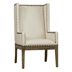 Trinidad Beige Linen + Weathered Oak Arm Chair
