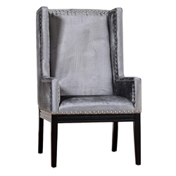 Trinidad Contemporary Gray Velvet Arm Chair