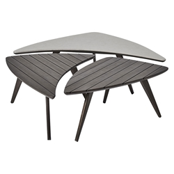 Modloft Triplica Dark Eucalyptus Wood Modern Outdoor Bunching Tables