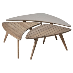 Modloft Triplica Weathered Eucalyptus Wood Modern Outdoor Bunching Tables
