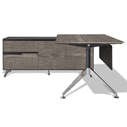 Trondheim 400 Collection Grey Desk + Left Credenza