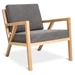 Gus* Modern Truss Arm Chair in Vintage Smoke Fabric Upholstery With Natural Ash Wood Frame