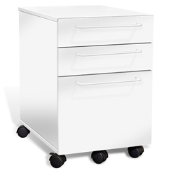 Turner Modern Mobile File Cabinet in White by Unique Furniture