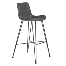 Uriah Gray Fabric + Black Powder Coated Steel Modern Bar Height Stool