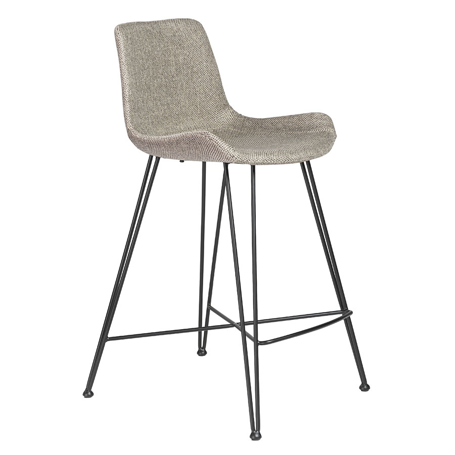 Uriah Gray Fabric + Black Powder Coated Steel Modern Counter Height Stool