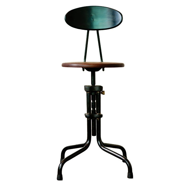 V19R-B Black Metal + Seared Oak Modern Industrial Dining + Counter Stool