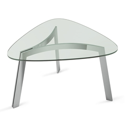 BDi Valencia Polished Stainless Steel + Tempered Glass Modern End Table
