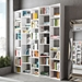 "Valsa 72"" White Staggered Front Modern Bookcase"