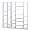 "Valsa 88"" White Staggered Front Modern Bookcase"