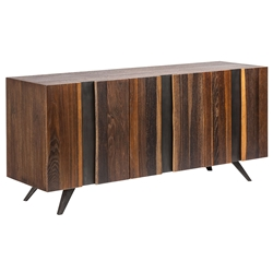 Vargas Vertical Seared Oak + Black Iron Modern Sideboard + TV Stand