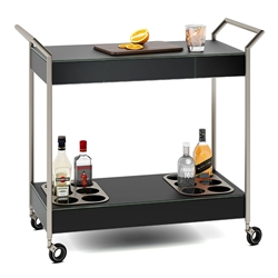 BDI Verra Modern Mobile Glass Bar Cart in Black