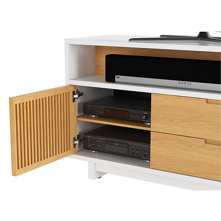 vertica oak tall modern tv stand detail