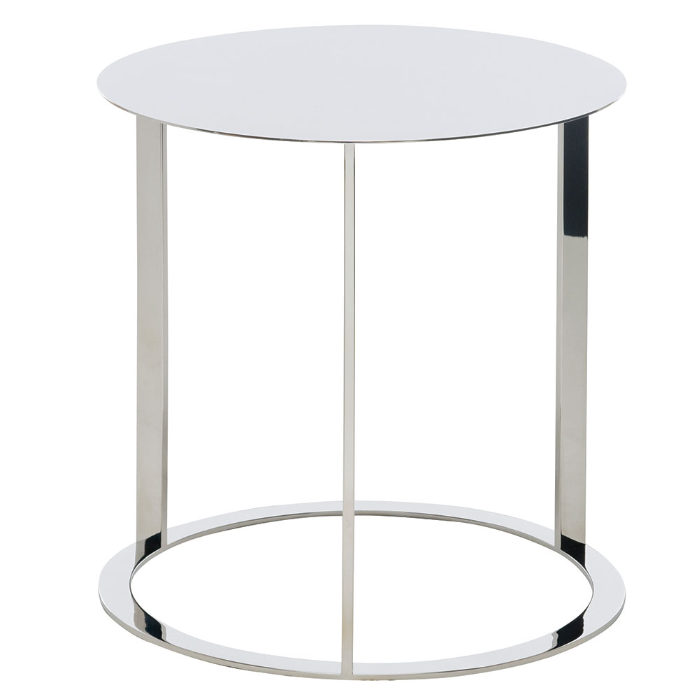 Vera Polished Steel Round Modern End Table