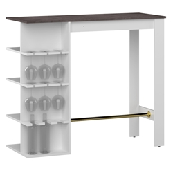 Viso Modern White + Concrete-Look Bar Table by TemaHome