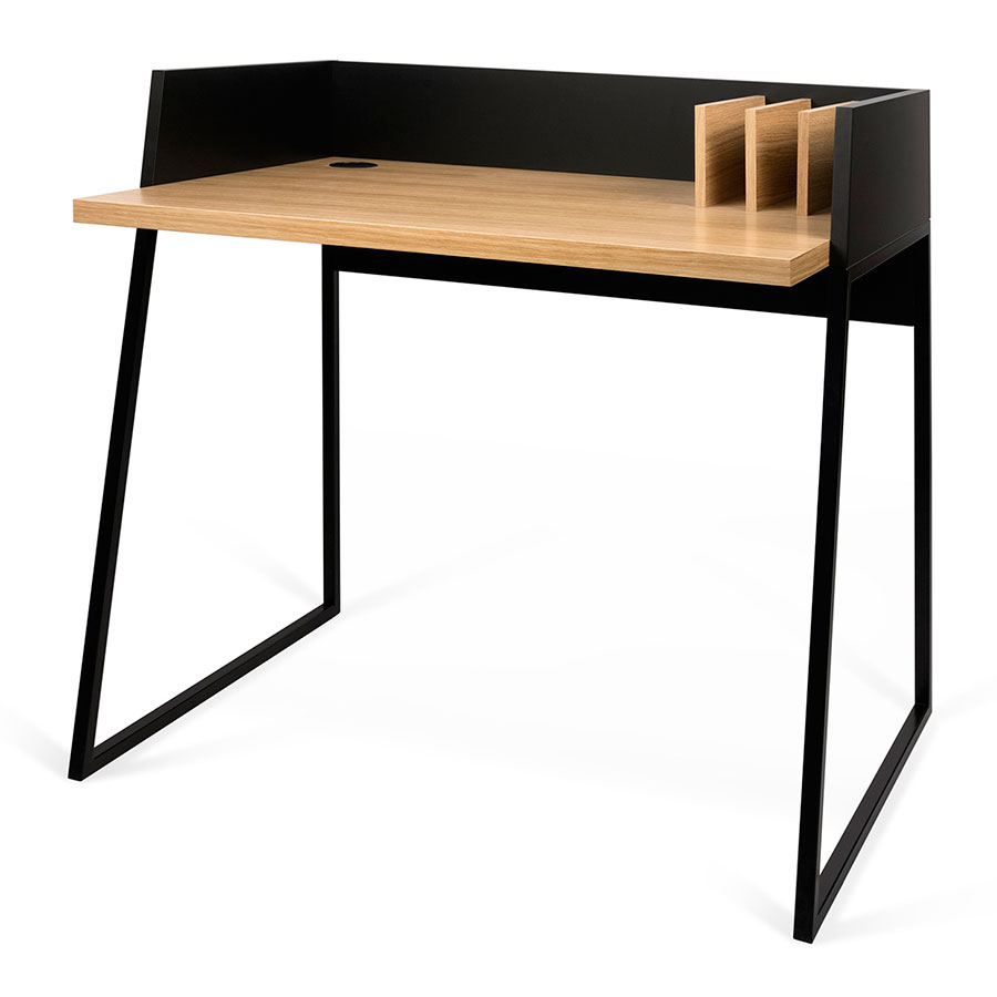 Volga Oak Black Modern Small Sized Desk