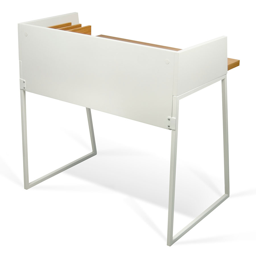 Small Contemporary Desk Modern Desks  Volga Oak  White Desk  Eurway Furniture