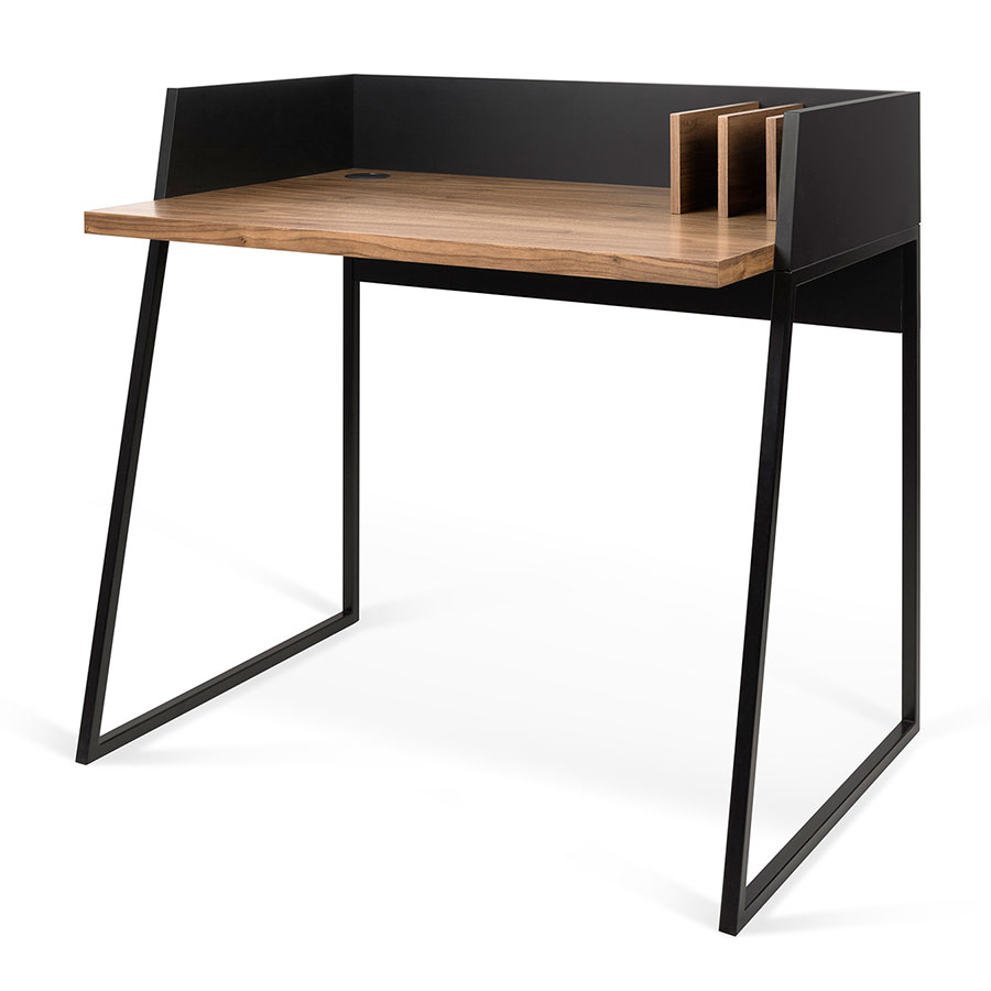 Volga Walnut + Black Small Modern Desk