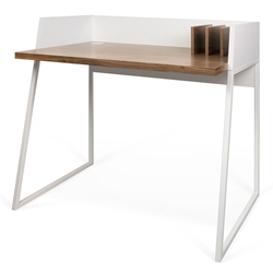 Volga White + Walnut Modern Small Desk