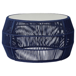 Modloft Volta Modern Outdoor Cocktail Table in Blue Regatta Cord