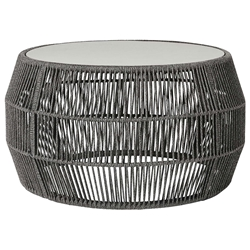 Modloft Volta Modern Outdoor Cocktail Table in Shades of Gray Regatta Cord with Concrete Top