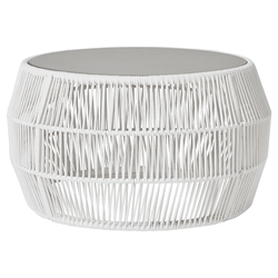 Modloft Volta Modern Outdoor Cocktail Table in White Regatta Cord with Concrete Top