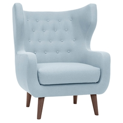 Voltaire Caribbean Blue Tufted Fabric + Walnut Stained Ash Wood Contemporary Lounge Arm Chair