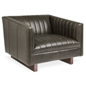 Gus* Modern Wallace Gray Saddle Leather Arm Chair