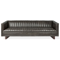 Gus* Modern Wallace Sofa in Saddle Gray Leather Upholstery with Walnut Stained Solid Wood Block Feet