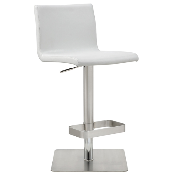 Watson Modern Adjustable Stool in White Faux Leather