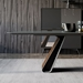 Modloft Black Wembley Graphite Paint, Clear Glass and Walnut Wood Modern Dining Table - Room Setting, Detail View
