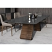 Modloft Black Wembley Graphite Paint, Clear Glass and Walnut Wood Modern Dining Table - Room Setting, Wide Angle