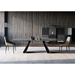 Modloft Black Wembley Graphite Paint, Clear Glass and Walnut Wood Modern Dining Table - Room Setting