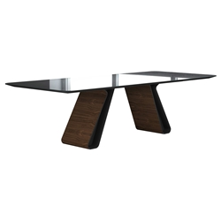 Modloft Black Wembley Graphite Paint, Clear Glass and Walnut Wood Modern Dining Table