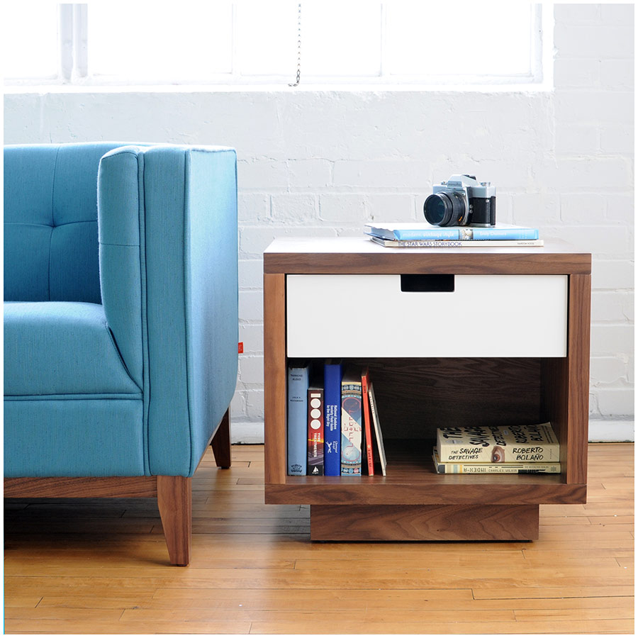 ... Wilson Modern End Table By Gus Modern In Walnut And White
