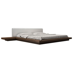 Modloft Worth Modern Platform Bed with White Eco Leather Headboard and Walnut Wood