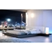 Modloft Worth Modern Platform Bed with White Eco Leather Headboard and Wenge Wood - Room Setting
