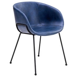 Zach Modern Dark Blue Arm Chair by Euro Style