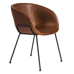 Zed Brown Faux Leather + Black Powder Coated Steel Modern Arm Chair