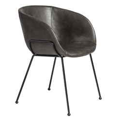 Zed Gray Faux Leather + Black Powder Coated Steel Modern Arm Chair