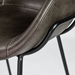 Zed Gray Faux Leather + Black Powder Coated Steel Modern Bar Stool - Seat Front Detail